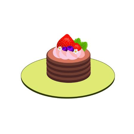gâteau au chocolat garni de crème fouettée aux fraises, fraises, myrtilles, petites fleurs et feuilles vertes sur plaque isolé sur fond blanc: vecteur Vecteurs