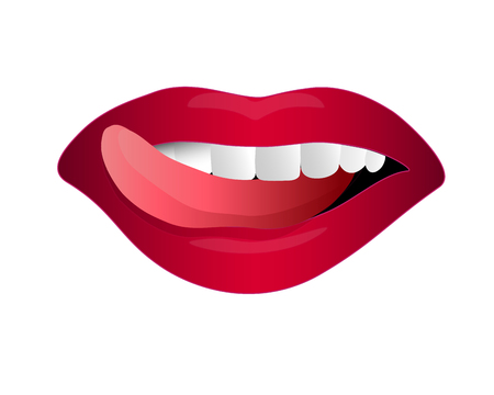 red lip, woman licks her lips showing white teeth isolated on white background : vector