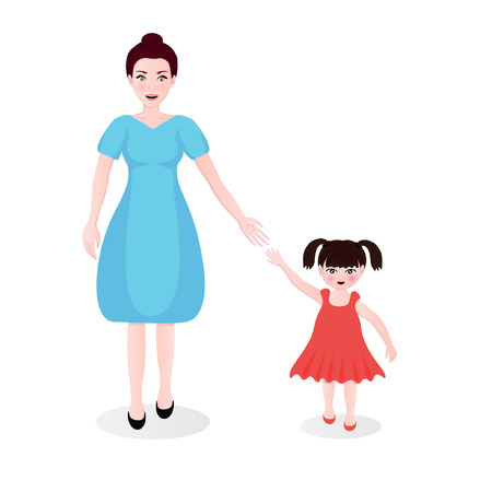 mother dressing in blue and daughter in her pink dress walking along together  smiling and reaching out their hands to each other - mother day concepts : vector