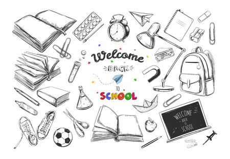 Welcome back to school collection. Hand drawn elements. School supplies. Books, notebook, copybook, backpack, lamp, alarm clock, football, snickers, chalkboard, pencil, marker, eraser etc.
