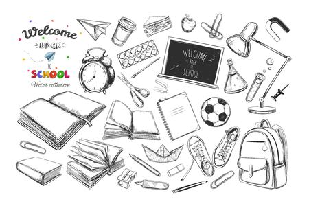 Welcome back to school vector collection. Hand drawn elements. Illustration