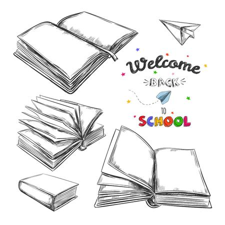 Welcome back to school. Books. Vector hand drawn illustration. Can be used as a logo for a bookstore or shop, library, educational or learning concept