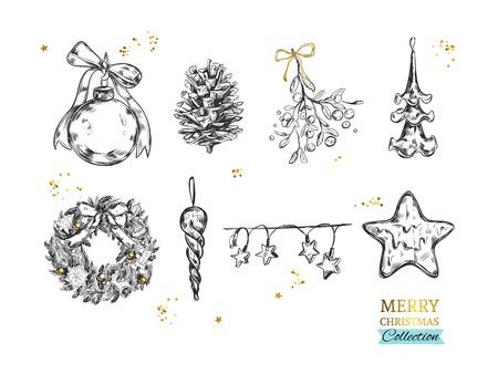 Merry Christmas collection hand-drawn illustrations.