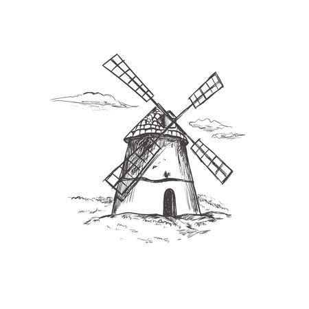 Windmill. Bakery shop collection. Vector hand drawn illustration. Çizim