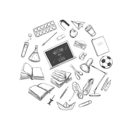 snickers: Welcome back to school vector collection. hand drawn elements. School supplies. Books, notebook, copybook, backpack, lamp, alarm clock, football, snickers, chalkboard, pencil, marker, eraser etc.