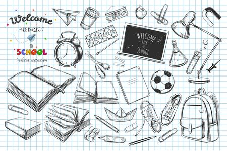 snickers: Welcome back to school vector collection. hand drawn elements. School supplies. Illustration