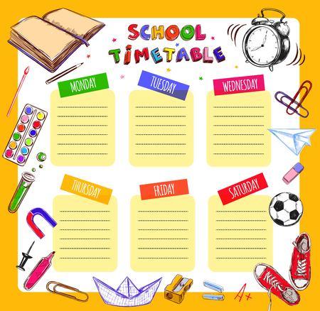 weekly: Vector Template School timetable vector illustration.