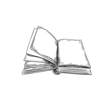 Book. Hand drawn illustration. Sketch style. Icon. Retro. Vintage. Can be used as logo for bookstore or shop, library, educational or learning concept
