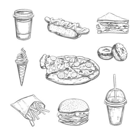 hot dog: Fastfood dishes with drinks . Vector Hand drawn Isolated vector objects. Hamburger, pizza, hot dog, cheeseburger, coffee and soda cups, ice cream , french fries, popcorn , donuts, rolls, sandwich Illustration