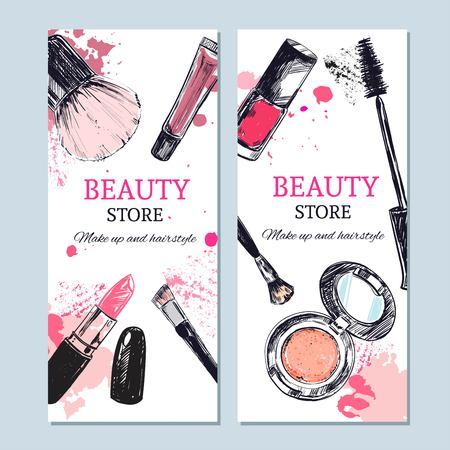 Banner de la tienda de belleza con objetos de maquillaje: lápiz labial, crema, pincel. Vector de plantilla. Dibujado a mano objetos aislados. Productos cosméticos. Ilustración de vector