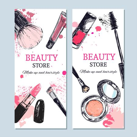 Beauty store banner with make up objects: lipstick, cream, brush. Template Vector. Hand drawn isolated objects. Cosmetics.