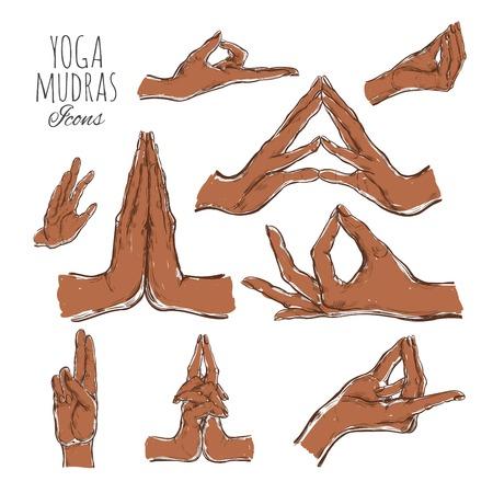 Vector dibujado a mano conjunto de mudras. Aislado en blanco. Yoga. Espiritualidad. Vistoso
