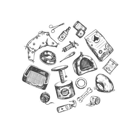 Pet shop. Vector Hand drawn collection. Isolated objects on white. Sketch style Illustration