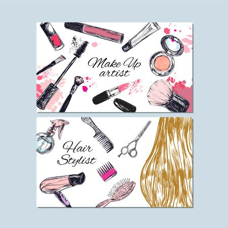 make up artist and hair stylist business cards beauty and fashion vector hand drawn - Stylist Business Cards