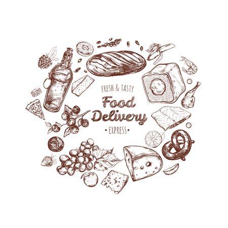 Food delivery frame. Vector hand drawn illustration