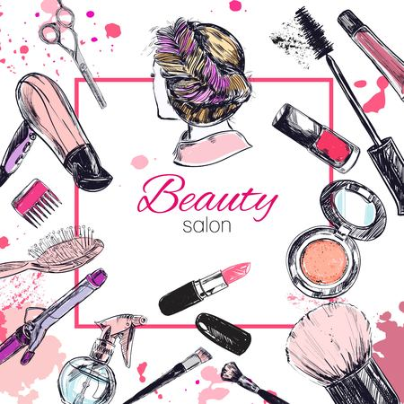 Cosmetics and beauty background with make up artist and hairdressing objects: lipstick, cream, brush. With place for your text .Template Vector. Vectores
