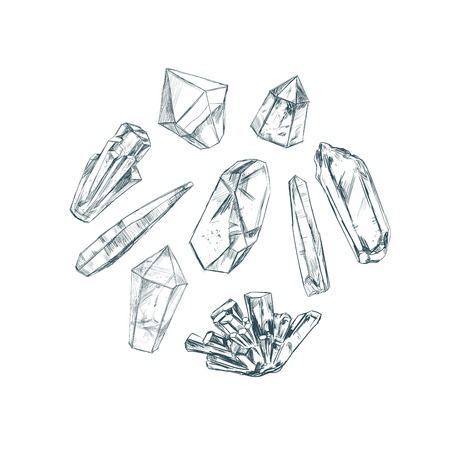 reiki: Healing crystals. Vector hand drawn illustration. Isolated objects. Yoga. Spirituality