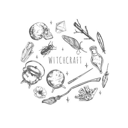Hand drawn Magic set. Illustration wizardry, witchcraft symbols Isolated icons collection Cartoon sorcery concept elements 向量圖像