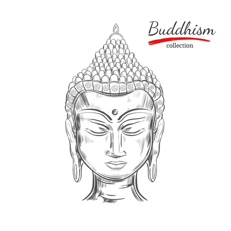 Hand drawn sketch style Buddha head isolated on white background Ilustração