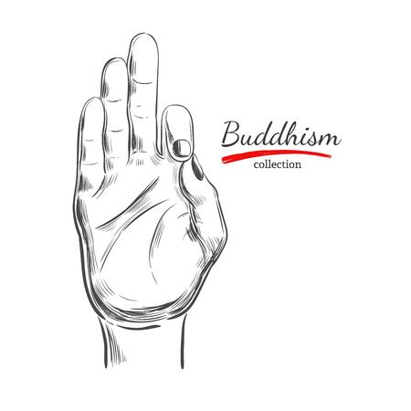 Hand drawn sketch style Buddha hand isolated on white background Ilustração