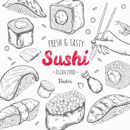 Asian food frame. Vector hand drawn colored illustration. Sushi. Japan cuisine Vektorové ilustrace
