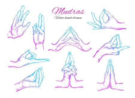 Vector hand drawn set of 9 mudras. Isolated on white background.