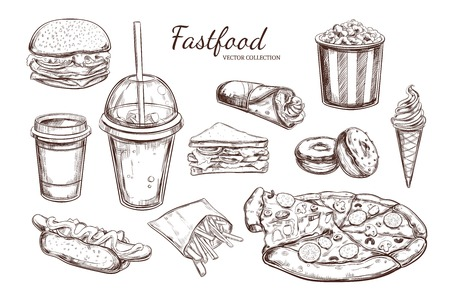 Fastfood dishes with drinks. Vector Hand drawn Isolated vector objects.