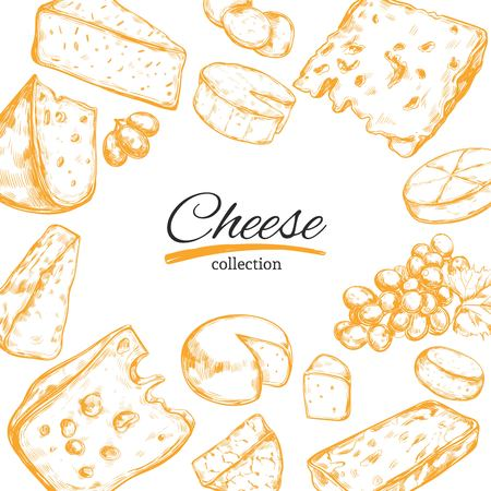 Vector frame with different types of cheese Illustration