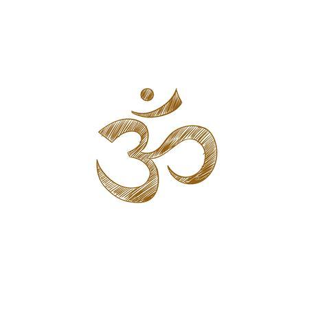 Om. Aum. Vector hand drawn illustration. Yoga. Indian symbol. Spirituality. Hinduism Illustration