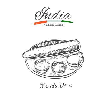 Masala Dosa. Traditional indian dish. Vector hand drawn illustration. Sketch style Illustration