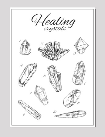 reiki: Healing crystals. Vector hand drawn illustration. Isolated objects
