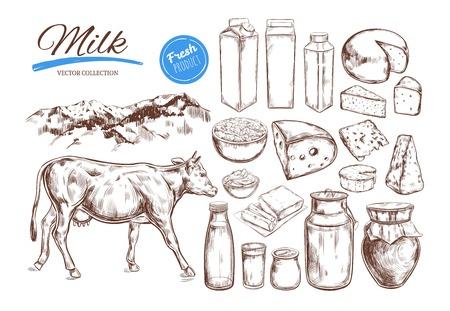 Zuivelproducten vectorinzameling. Koe, melkproducten, kaas, boter, zure room, wrongel, yoghurt. Voedsel voor de boerderij. Landbouwlandschap met koe. Hand getrokken illustratie. Geïsoleerde objecten op wit