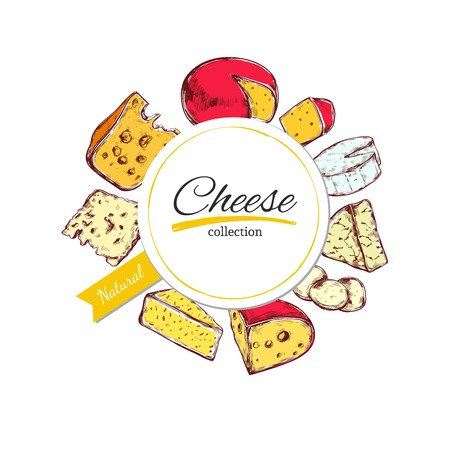 Vector hand drawn banner, label with cheese. Illustration
