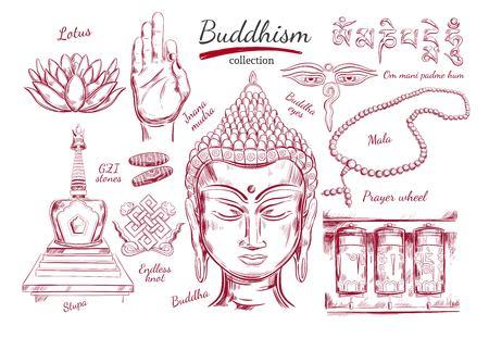 Collection de bouddhisme. Spiritualité, impression de yoga. Illustration dessiné à la main à vecteur. Style d'esquisse. Objets rituels avec tête de Bouddha Vecteurs