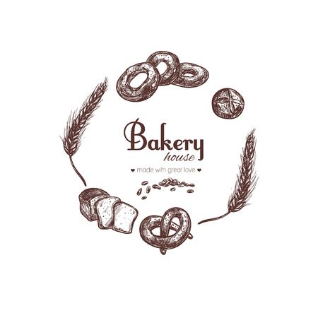 Bakery shop collection. Different types of bread. Vector hand drawn