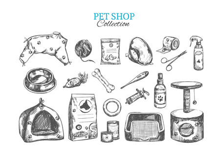 Pet shop. Vector hand drawn collection. Isolated objects on white. Sketch style