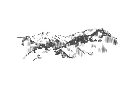 Mountain landscape. Vector hand drawn illustration. Mountains in Sketch style.
