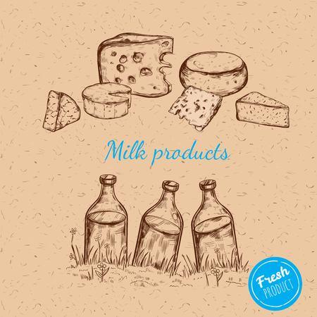 Illustrazione di vettore di prodotti lattiero-caseari di San Valentino isolato. illustrazione su carta artigianale Vettoriali