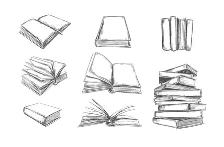 Books vector collection. Pile of books. Hand drawn illustration in sketch style. Library, Books shop Çizim