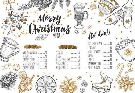 Menú festivo del invierno de la Feliz Navidad en la pizarra. La plantilla de diseño incluye diferentes ilustraciones vectoriales dibujadas a mano y caligrafía moderna Brush-pen.