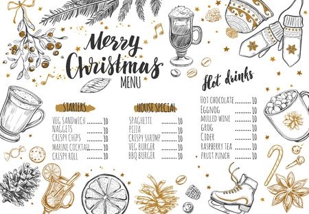 Merry Christmas festive Winter Menu on Chalkboard. Design template includes different Vector hand drawn illustrations and Brush-pen Modern Calligraphy.