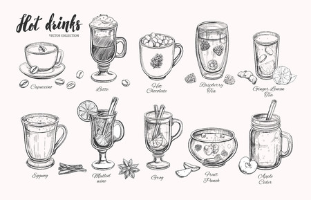 Hot drinks. Vector Christmas2