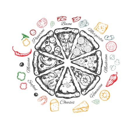 Pizza with ingredients Illustration