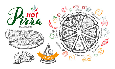 Hot Pizza vector hand drawn set