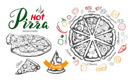 Hot Pizza vector hand drawn set