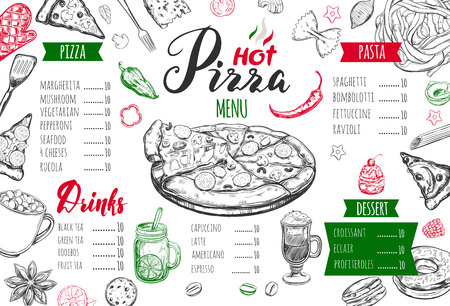 Italian food menu for restaurant and cafe. Illustration