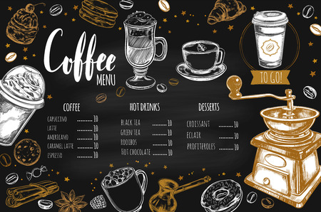 Coffee and Bakery restaurant Menu, brochure. Vector hand drawn template with sketch illustrations and handwritten Lettering, Calligraphy. Иллюстрация