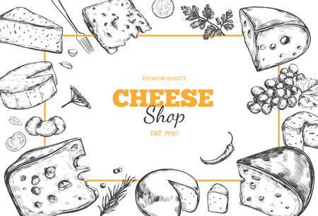 チーズ コレクション。ベクトルは、チーズの種類と描かれた背景を手します。  イラスト・ベクター素材