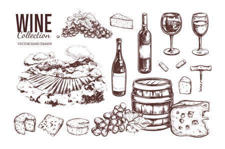 Wine set. Vector hand drawn 3 Illusztráció