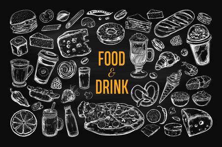 Food and drink vector big set.